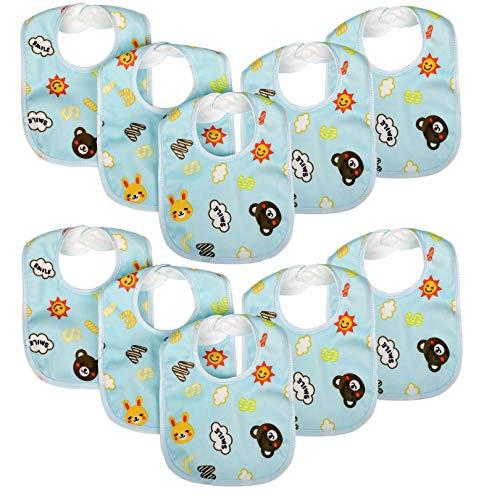 Zeltababy 10 Pack Waterproof Dribble Bib Snap Button Velvet Fabric (Blue)