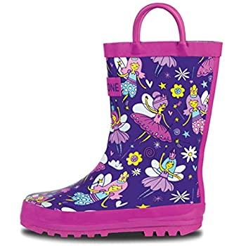 LONECONE Rain Boots with Easy-On Handles in Fun Patterns for Toddlers and Kids Bippity Boppity Fairy Boots 4 Toddler