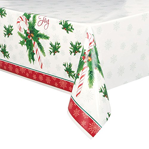 "Candy Cane Christmas Plastic Tablecloth, 84"" x 54"""