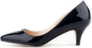 Women's Classic Pointed Toe Low Mid Heels Pumps Elegant Dress Shoes