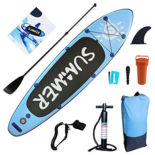 SATSAT Kit De Tabla De Remo Inflable, Tabla De Surf para Deportes AcuáTicos, Tabla De Surf con Accesorios Completos, para Todas Las Aguas, Todos Los Niveles De Habilidad, Carga MáXima 150 Kg