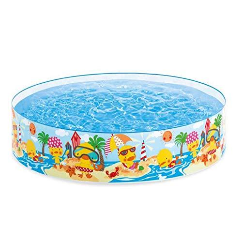 SUWIN Piscina pequeña de plástico Duro Frente a la Playa, Piscina Familiar Redonda, Piscina para niños, Estanque de Peces al Aire Libre, 122X25 CM