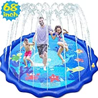 """splash mat of a 68"""" diameter which creates ample space for 3-4 kids or a whole family to play on and have endless water fun and enjoy the sun in your yard. Shape: Round shape is more able to withstand the water pressure better. Quando i tuoi figli si..."""