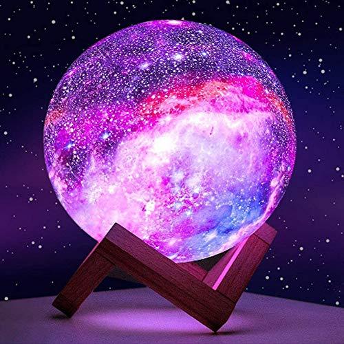 Moon Lamp, Luce planetaria per bambini luce giocattolo 16 colori LED 3D galaxy light star moonlight torre in legno telecomando touch conteol (cornice in legno 15 cm)