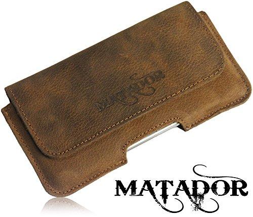 Matador Echt Leder Tasche Case Hülle Handytasche Gürteltasche Quertasche für Huawei Ascend W1 in Antik Tobacco Vintage Style mit verdecktem Magnetverschluß und Gürtelschlaufe - 2