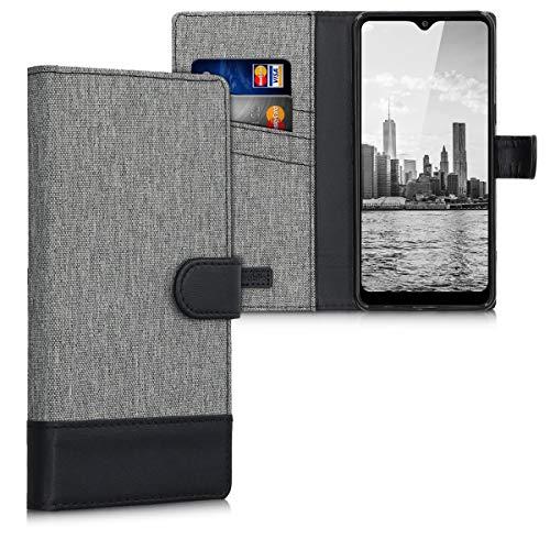 kwmobile Wallet Hülle kompatibel mit LG K50S - Hülle mit Ständer - Handyhülle Kartenfächer Grau Schwarz