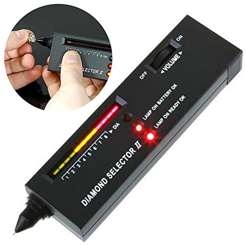 Diamond Selector II Gold Testset Edelsteinstift, Edelsteintester Schmuck, tragbar, elektronischer Diamant-Tester, Stift, Schmuckauswahl, LED, schwarz