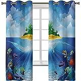 Cortinas opacas, cortinas de tratamiento de ventana Energy Smart para acuario, palmeras de isla tropical, 2 paneles de cortina de oscurecimiento de habitación de 42 x 63 pulgadas