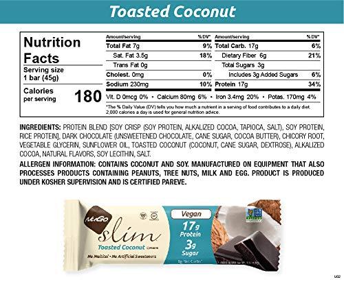 NuGo Slim Dark Chocolate Toasted Coconut, 16g Vegan Protein, 3g Sugar, 7g Fiber, 190 Calories, Low Net Carbs, Gluten Free Toasted Coconut .0 12 Ct - Toasted Coconut (Pack of 12)