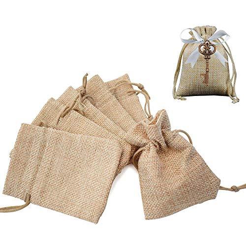 Gudotra 100pz Sacchetti Portaconfetti in Tela Bustina Bomboniere Confetti Sacchetti Regalo Natale per Matrimonio Battesimo Compleanno Regalo Gioielli
