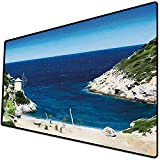 Tappetino per mouse da gioco [600x300 x 3 mm],Spiaggia, insenatura sabbiosa rocciosa a nord della città vecchia Alonissos paesaggio marino calmo s Base antiscivolo 45x45cm