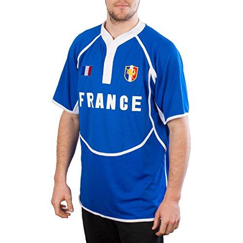 Cool Dry Herren Rugby-Shirt Frankreich, Königsblau/Weiß Gr. XL, blau
