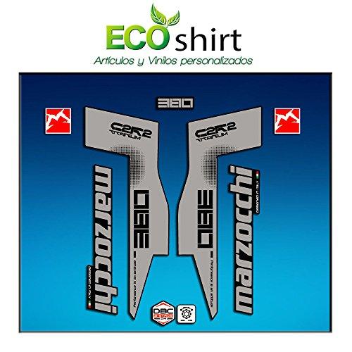 Ecoshirt 8V-II0U-4ZX7 Autocollants Fork Marzocchi 380 C2Rc Titanium Am70 Aufkleber Decals Autocollants Fourche Gabel Fourche, Gris