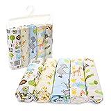 Unisex Muslin Receiving Swaddle Blankets -5 Pack Baby Receiving Blanket Set - Zoo Animals Baby Blankets - Baby Blankets for Boys - Baby Blankets for Girls
