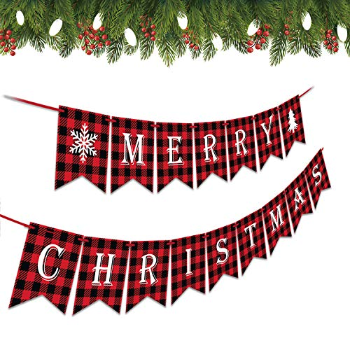 Tbrand Merry Christmas Banner Christmas Banners for Fireplace Christmas Decor Christmas Wall Decor Christmas Decorations for The Home Christmas Hanging Decorations Indoor Holiday Party Decor