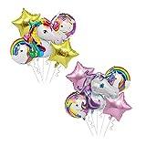 Aodoor 2 piezas de globo de unicornio, decoraciones de fiesta de unicornio, suministros de fiesta de unicornio de feliz cumpleaños, decoraciones de cumpleaños niñas y mujeres, fiesta de cumpleaños