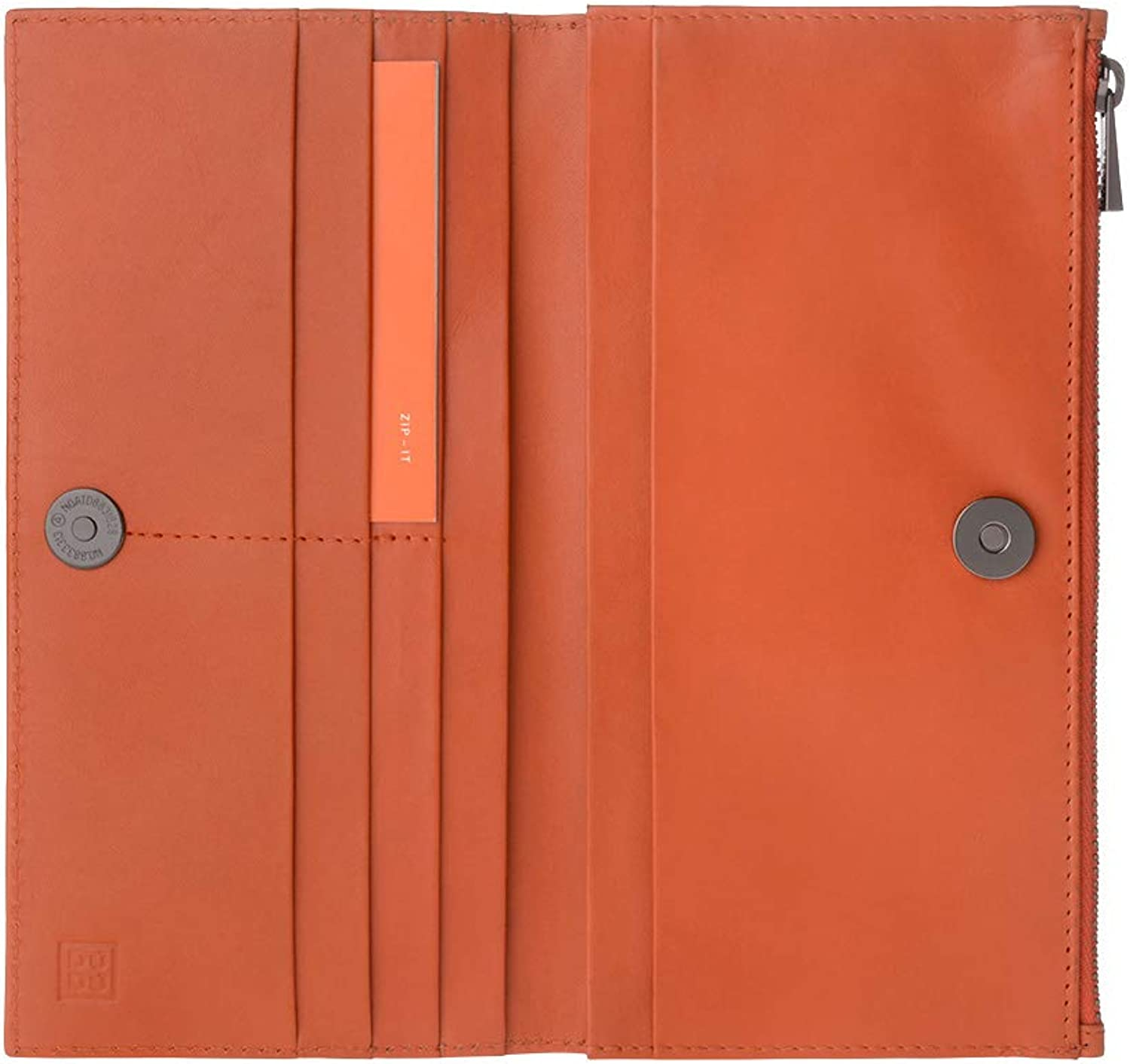 DUDU Womens Genuine Leather Wallet Long Purse with Button   Metal Zip   Card Holder Slim Design Ada orange