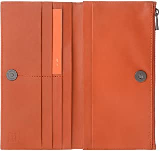 DUDU Womens Genuine Leather Wallet Long Purse with Button / Metal Zip / Card Holder Slim Design - Ada - Orange