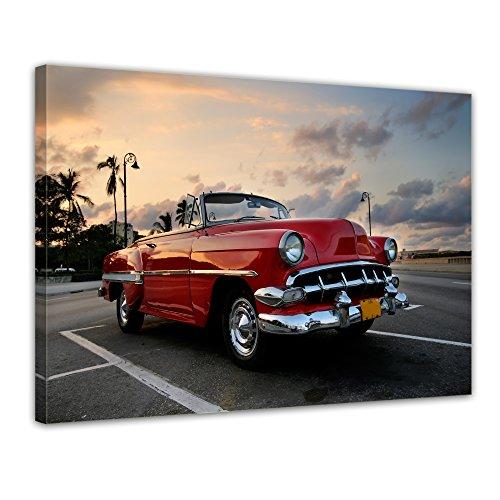 Bilderdepot24 Bild auf Leinwand   Roter Oldtimer in Havanna I in 40x30 cm als Wandbild   Wand-deko Dekoration Wohnung modern Bilder   200553