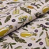 Hans-Textil-Shop Stoff Meterware Oliven Olivenzweige