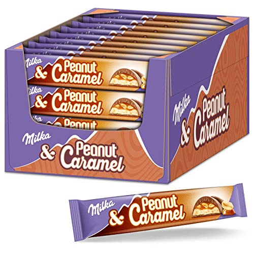 Milka Riegel Peanut Caramel 36 x 37g, Erdnuss Karamell Riegel einzeln verpackt