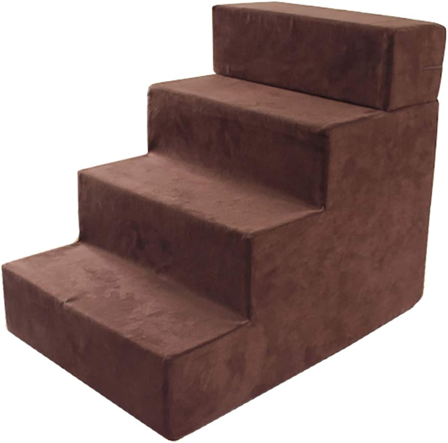 LXLA  Adjustable 4Steps Pet Stairs, For Dogs and Cats, Removable Washable, Coffee color, 60 × 40 × 50cm