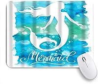 VAMIX マウスパッド 個性的 おしゃれ 柔軟 かわいい ゴム製裏面 ゲーミングマウスパッド PC ノートパソコン オフィス用 デスクマット 滑り止め 耐久性が良い おもしろいパターン (素敵な水彩画かわいいマーメイドブルーグリーンターコイズブルーの波)