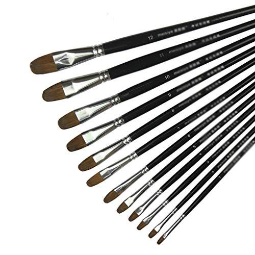 Malen Sie Stift 12-teiliges Set Aquarellpinsel feine Bürstenkunstmalerei liefert Künstlerqualitätsbürsten-Aquarellstift (Color : Black)