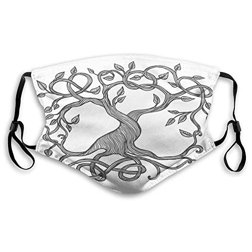 Comfortable Printed mask,Celtic, Sketchy Figure of A Single Celtic Tree of Life with Swirly Long Branches and Roots, Black White,Windproof Facial decorations for Adults Size:M