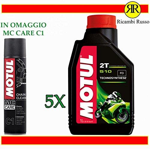 Ricambi Russo Motul 510 2T Olio Motore Moto 2 Tempi Litri 5 + Omaggio MC Care C1 Chain Clean