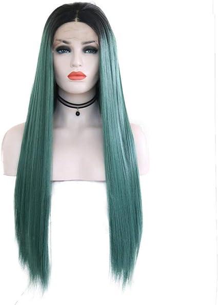 Pelucas teñidas, cabello largo y liso, encaje, peluca de ...