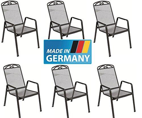 MFG 6 x Streckmetall Stapelsessel Traunstein - Snail, Made IN Germany, TÜV, GS und Gastro geprüft