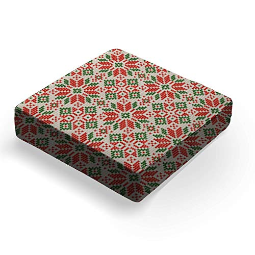 """Ugly sweater Christmas Season Winter seamless background scandinavianOutdoor Indoor Seat Cushion Patio Deep Seating Lounge Chair Conversation Cushion Large Size Replacement for Furniture - 25""""x25""""x5"""""""