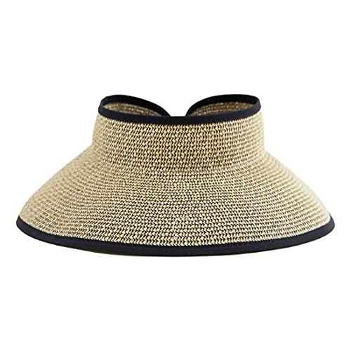 San Diego Hat Company Signature Women's Ultrabraid Large Brim Visor with Ribbon Binding & Sweatband, Sun Hats for Women, Multi/Black