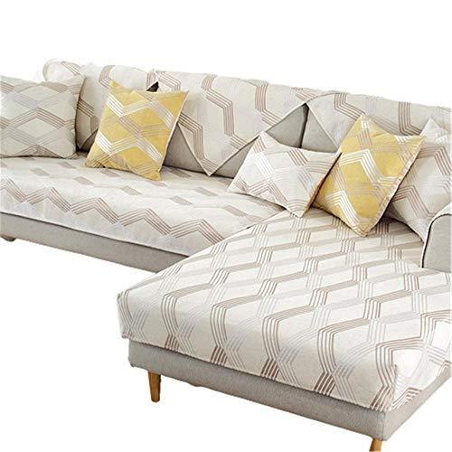 Patrones geométricos Chenilla 1 2 3 4 plazas Funda para sofá Funda de sofá de fácil instalación para Perros Gatos Fundas de sofá de Dos plazas para Mascotas,Beige,70 * 120
