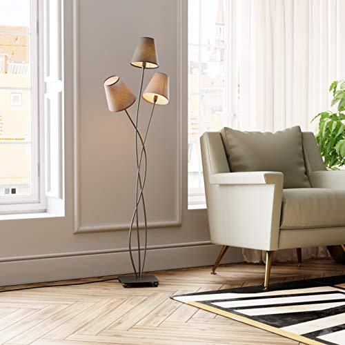 Kare Design Stehleuchte Flexible Mocca Tre, Retro Design Stehlampe für das Wohnzimmer, dezente Leselampe, Standleuchte mit bunten Stoffschirmen (Beige, Schwarz, Braun), (H/B/T) 130x50x18cm
