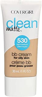COVERGIRL Clean Matte BB Cream For Oily Skin, Light/Medium 530, (Packaging May Vary) Water-Based Oil-Free Matte Finish BB ...