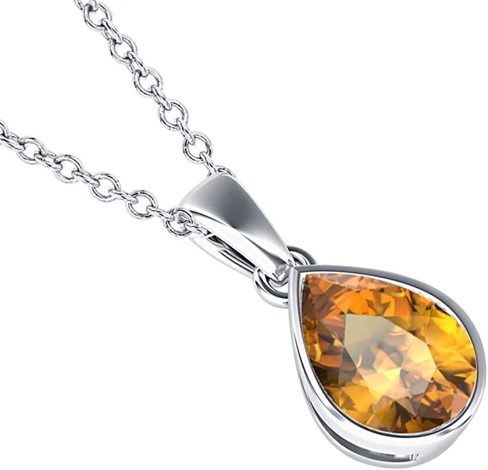 5x7mm to 10x12mm Pear Shaped Citrine Solitaire Bezel Set Pendant Necklace 14k Gold Over .925 Sterling Silver Valentines Days Special for Womens