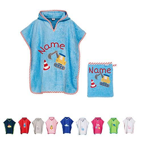 Stickling SET Kinder Badetuch Poncho und Waschhandschuh Waschlappen bestickt | personalisiert mit Namen | Baby Kapuze Bademantel | Robe | Baumwolle (hellblauer Bagger L)