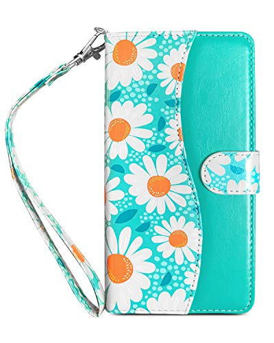 J.west LG Stylo 4 Wallet Case with Credit Card Holder and Wrist Strap, Daisy Floral Flower Leather Magnetic Flip Phone Protective Cover with Kickstand Lanyard For LG Stylo 4 Plus/Q Stylus (Mint Green)