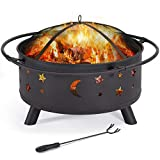 YAHEETECH 30' Outdoor Fire Pit, Metal Firepit Bonfire Wood Burning Heater Stove Backyard Patio...