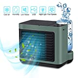 Portable Air Conditioner, Personal Air Cooler with Warm Lamp Colors Light, 3 Fan Speeds USB Desk Fan, Super Quiet Humidifier Misting Fan for Home Office Bedroom 2020 Version (Green)