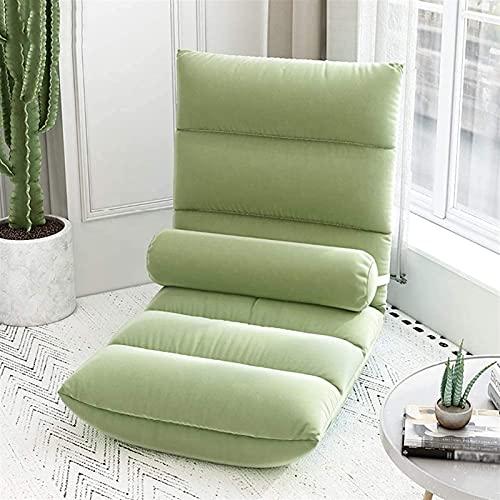 Silla ergonómica para el suelo, sofá ajustable de 5 posiciones, silla de meditación con soporte para la espalda, silla de juegos portátil para adultos y niños (color verde)