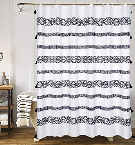 YoKII Extra Long Shower Curtain, 84-Inch Black and Cream Striped Boho Fabric Bathroom Shower Curtain Sets with Tassels, Heavy Weighted & Water Resistant (72 x 84, Black and Cream)