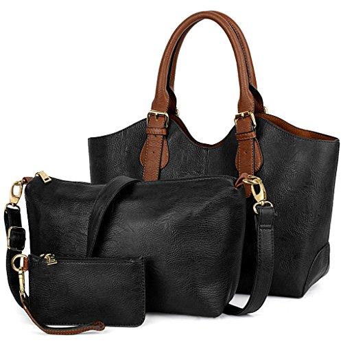 UTO Damen Handtasche Set 3 Stücke Tasche PU Leder Shopper klein Schultertasche Geldbörse Trageband schwarz