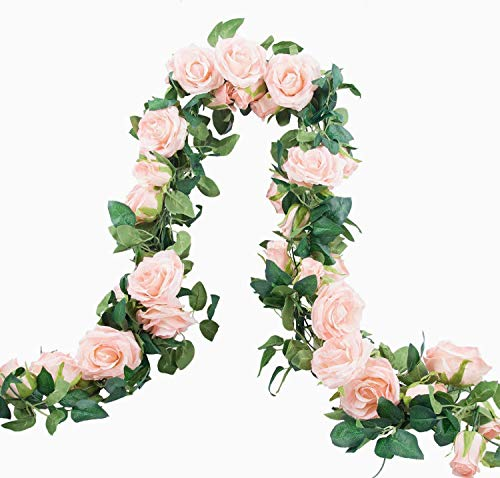 3Pack Artificial Rose Vine Flowers Plants, Fake Flowers Silk Rose Vines Garland Hanging Baskets Plants for Home Outdoor Wedding Arch Garden Wall Decor (pink)