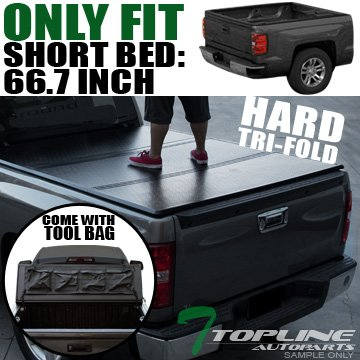 Topline Autopart Tri-Fold Hard Tonneau Cover Tool Bag 07-16 Tundra Crewmax/Extended Crew...