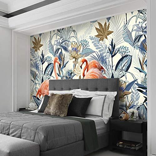 Msrahves Papel tapiz estéreo 3D Estilo europeo plantas tropicales flamenco hojas. Pared Mural Foto Papel Pintado Pared Mural Vivero Sofá Tv Pared De Fondo Decoración de Pared decorativos hotel fondo d