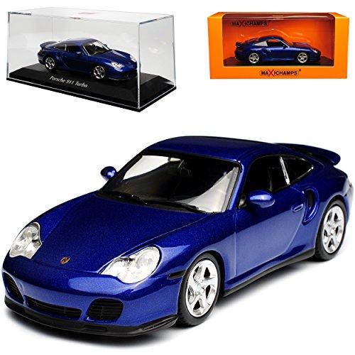 Minichamps Porsche 911 996 Turbo Coupe Metallic Blau 1997-2004 1/43 Maxichamps Modell Auto mit individiuellem Wunschkennzeichen