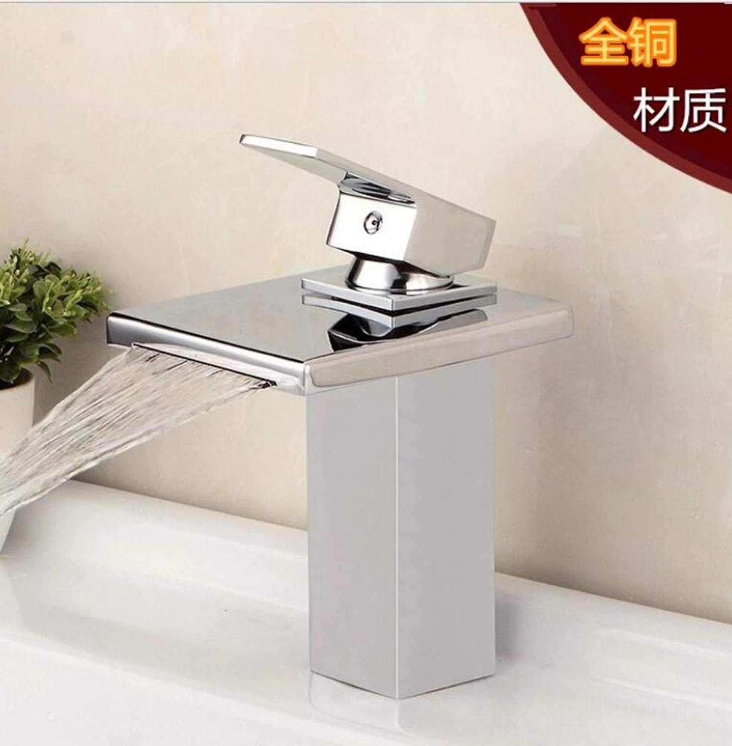Bathroom Sink Basin Lever Mixer Tap Copper Sifang Falls Faucet Facewash Basin Faucet Single Wrench Type Cold and Hot Faucet